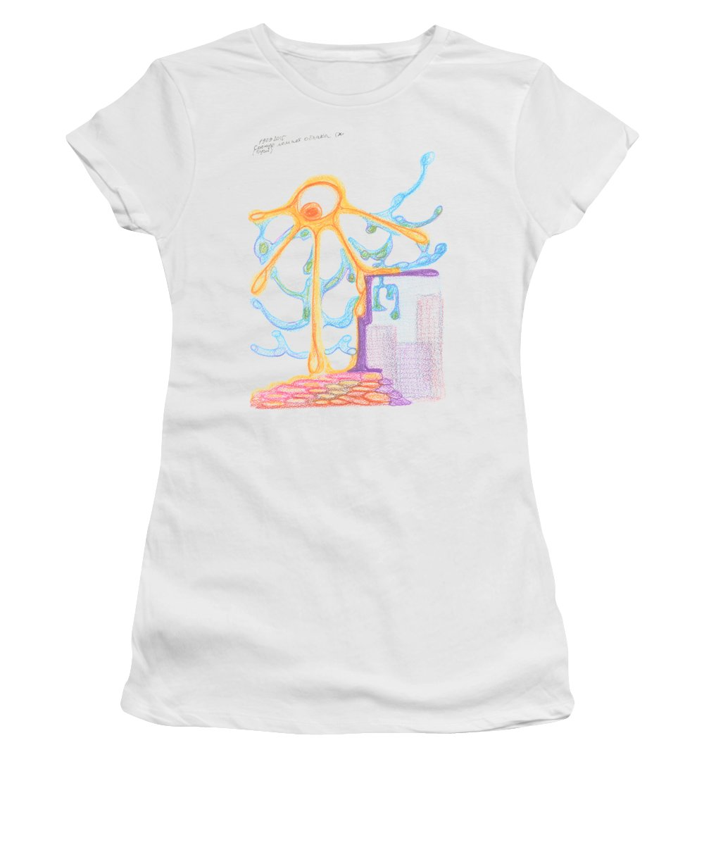 Contemporary Painting Women's T-Shirt featuring the drawing The Sun Breaks Clouds. 19 September, 2015 by Tatiana Chernyavskaya