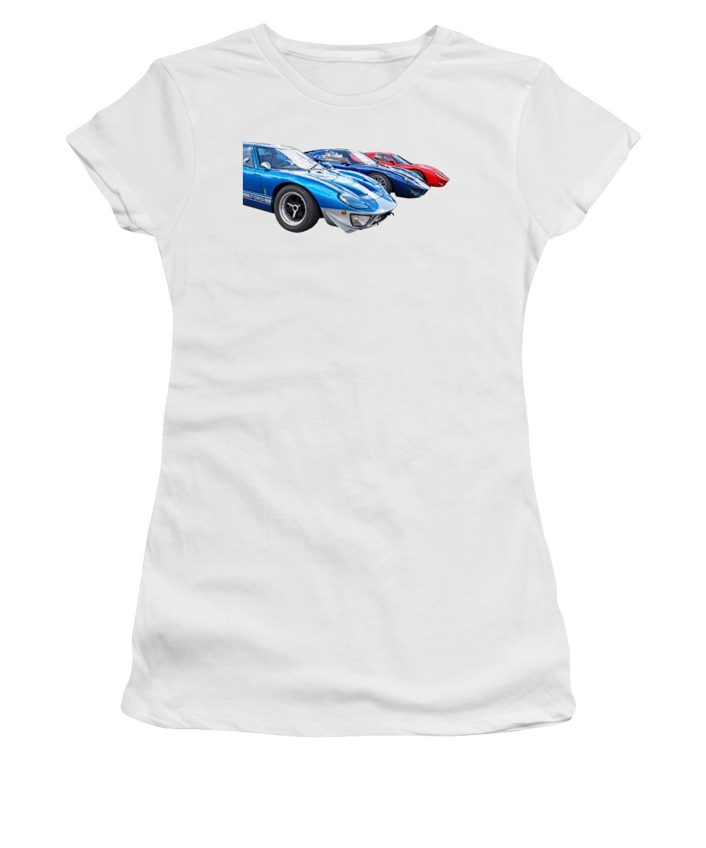 Ford Gt40 Women's T-Shirt featuring the photograph The Three Amigos - Ford Gt 40 by Gill Billington