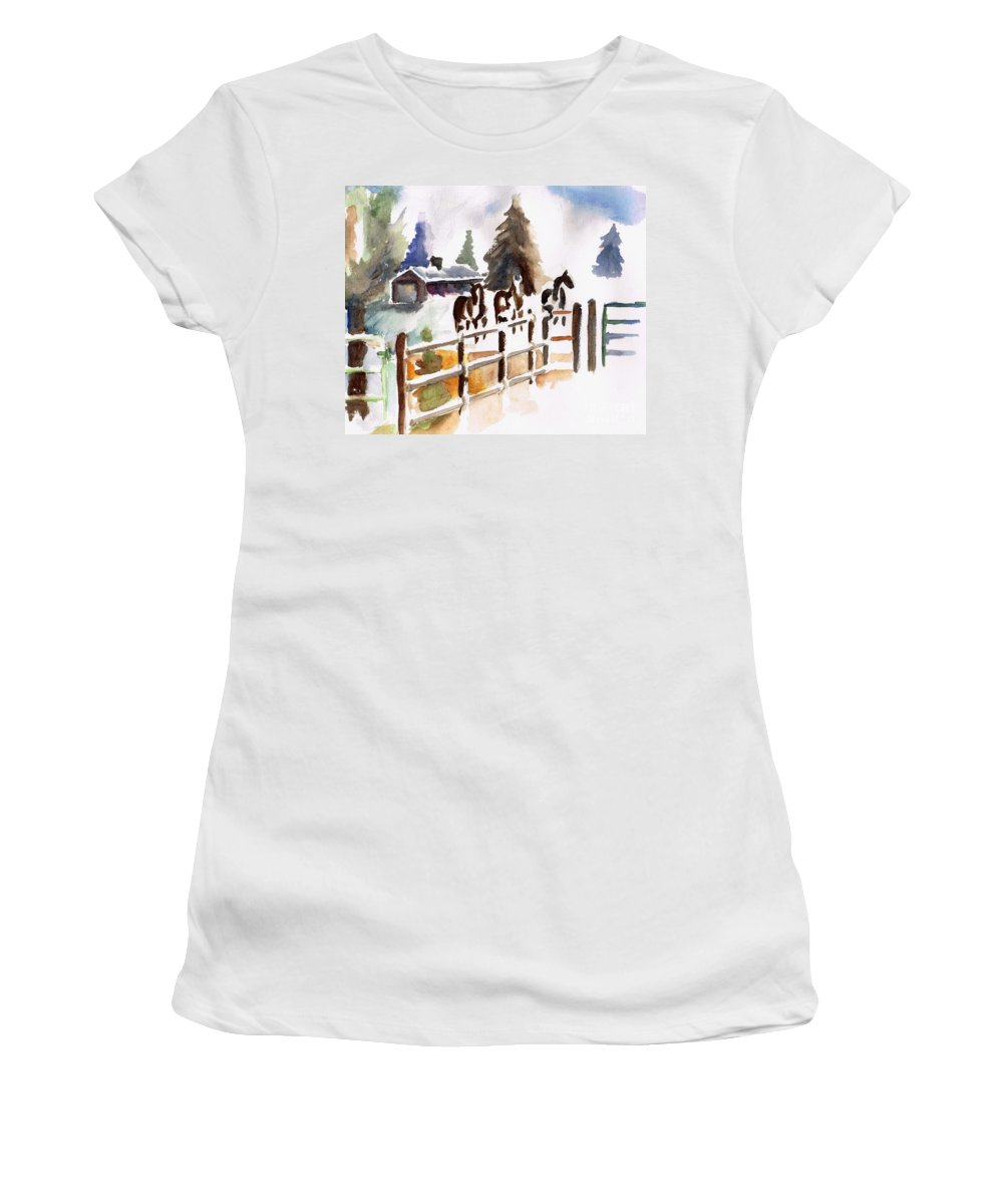 Horses Women's T-Shirt (Athletic Fit) featuring the painting The Three Amigos by Frances Marino