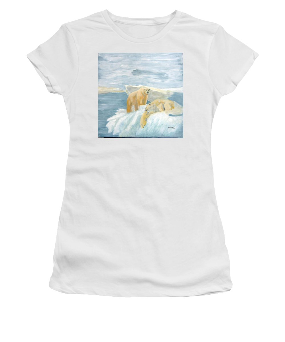 Polar Bears Women's T-Shirt (Athletic Fit) featuring the painting The Three Bears by Richard Le Page