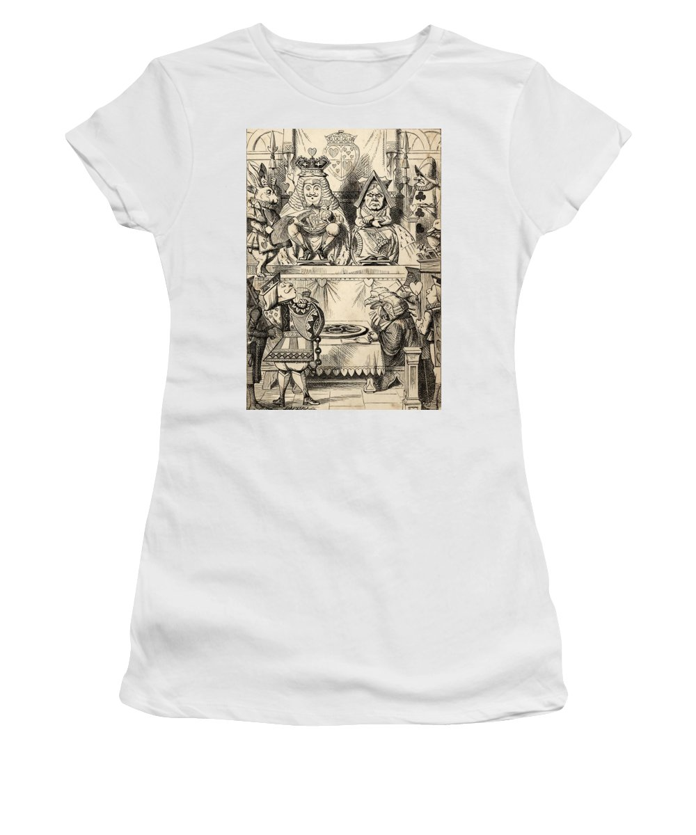 Alice Women's T-Shirt featuring the drawing The Trial Of The Knave Of Hearts With by Vintage Design Pics