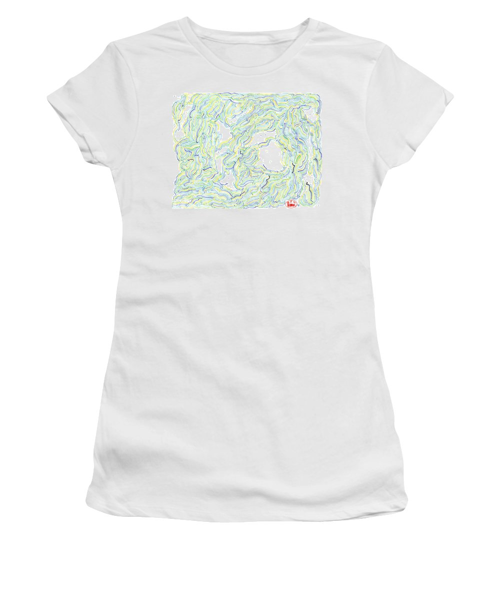 Mazes Women's T-Shirt (Athletic Fit) featuring the drawing The Two Of Us by Steven Natanson