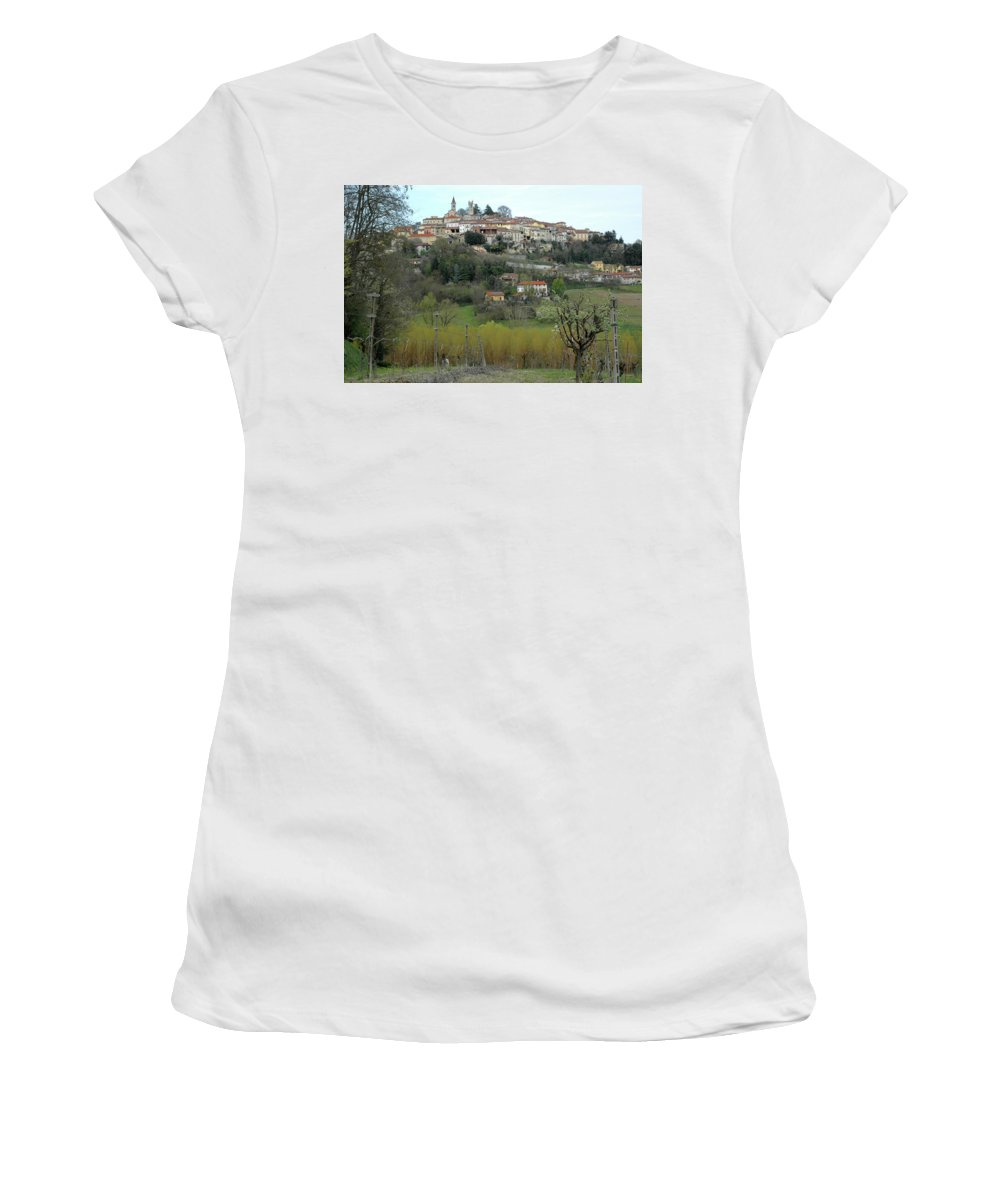 Hill Women's T-Shirt (Athletic Fit) featuring the photograph The Village And The Countryside by Guido Strambio