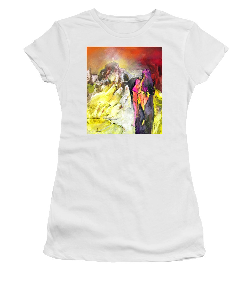 Fantasy Women's T-Shirt (Athletic Fit) featuring the painting The White Wall by Miki De Goodaboom
