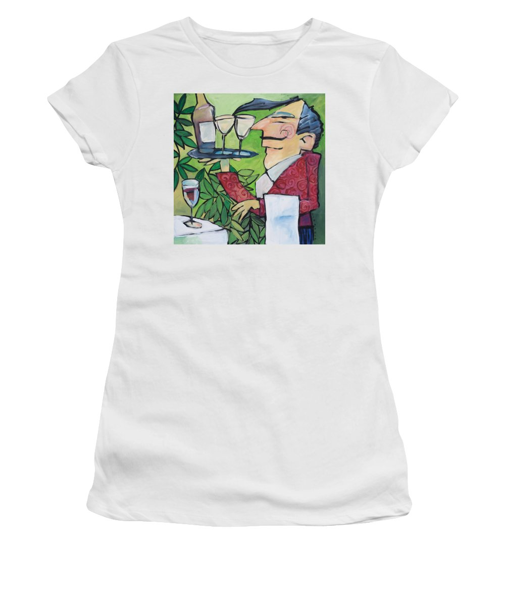 Wine Women's T-Shirt (Athletic Fit) featuring the painting The Wine Steward by Tim Nyberg