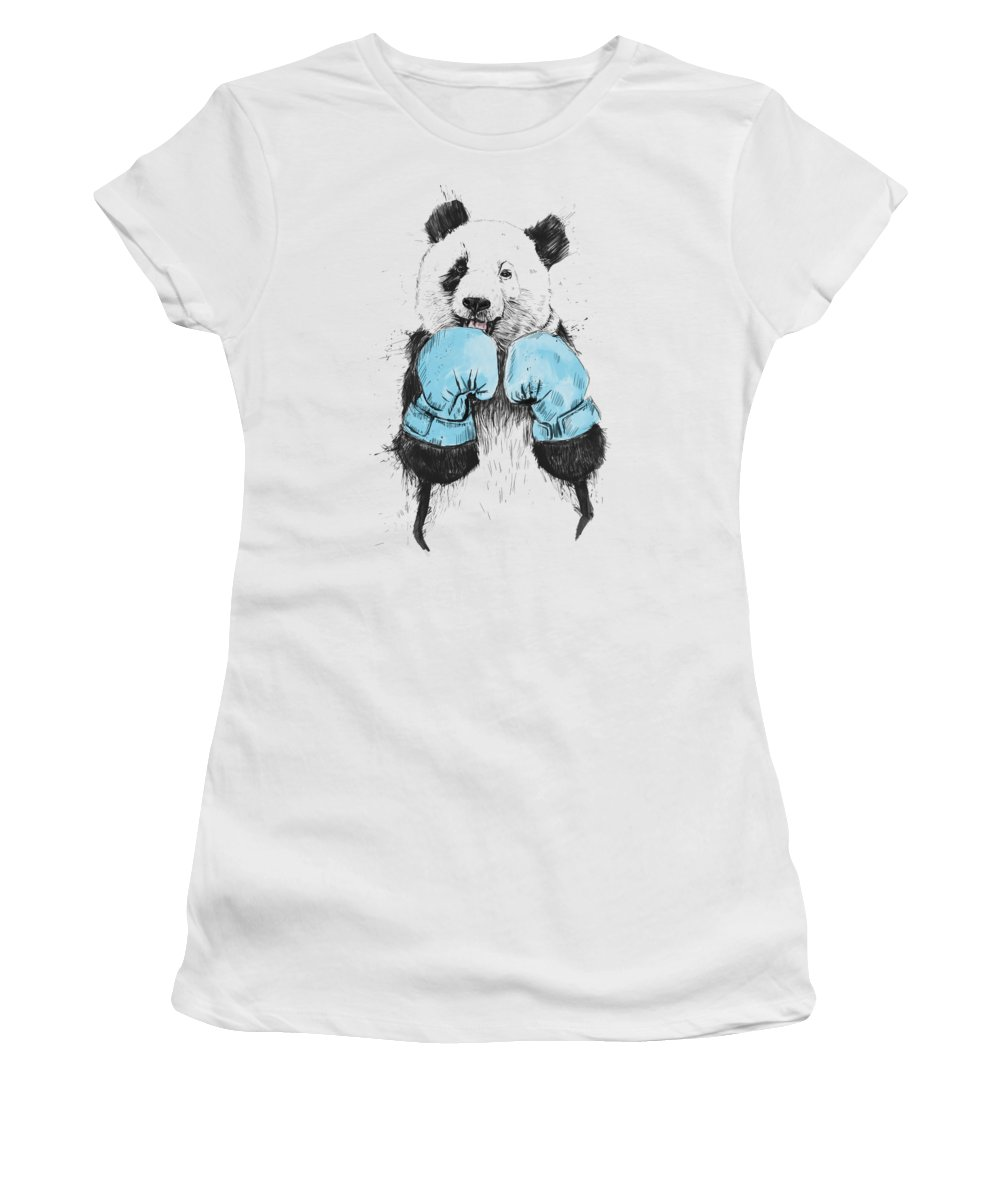 Panda Women's T-Shirt featuring the digital art The Winner by Balazs Solti