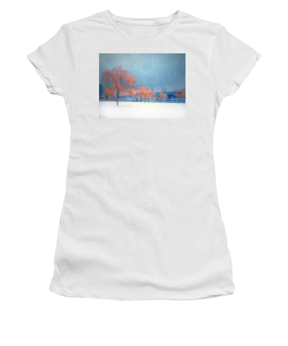 Blue Women's T-Shirt (Athletic Fit) featuring the photograph The Winter Blues by Tara Turner