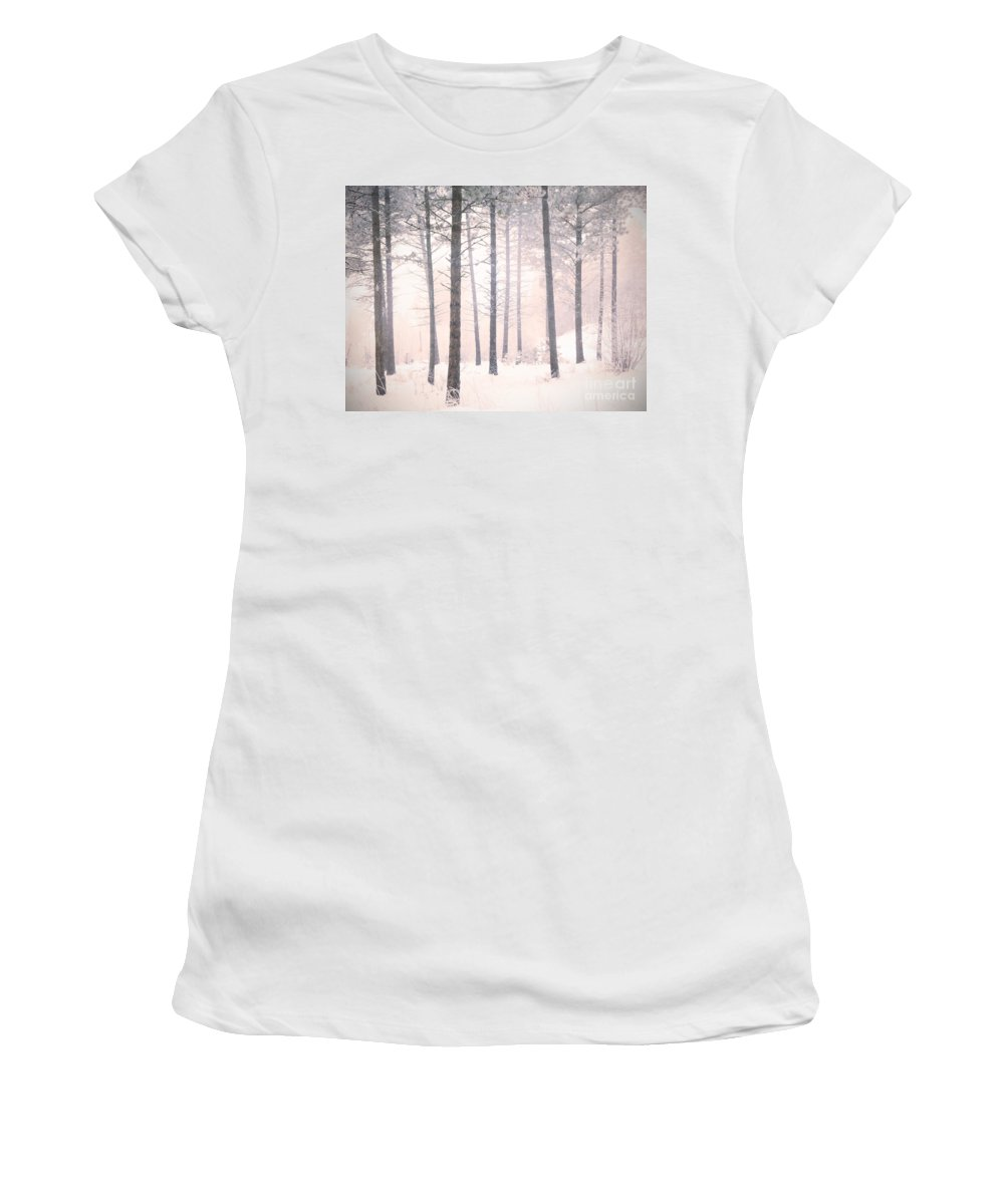 Trees Women's T-Shirt (Athletic Fit) featuring the photograph The Winter Forest by Tara Turner