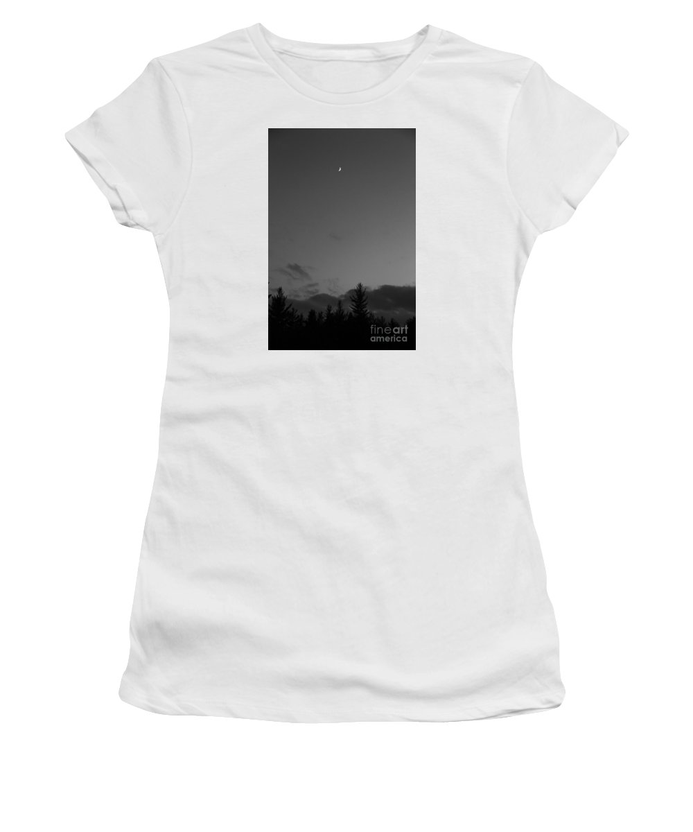 Moon Women's T-Shirt (Athletic Fit) featuring the photograph The Woods And The Moon 2 Black And White by Marina McLain