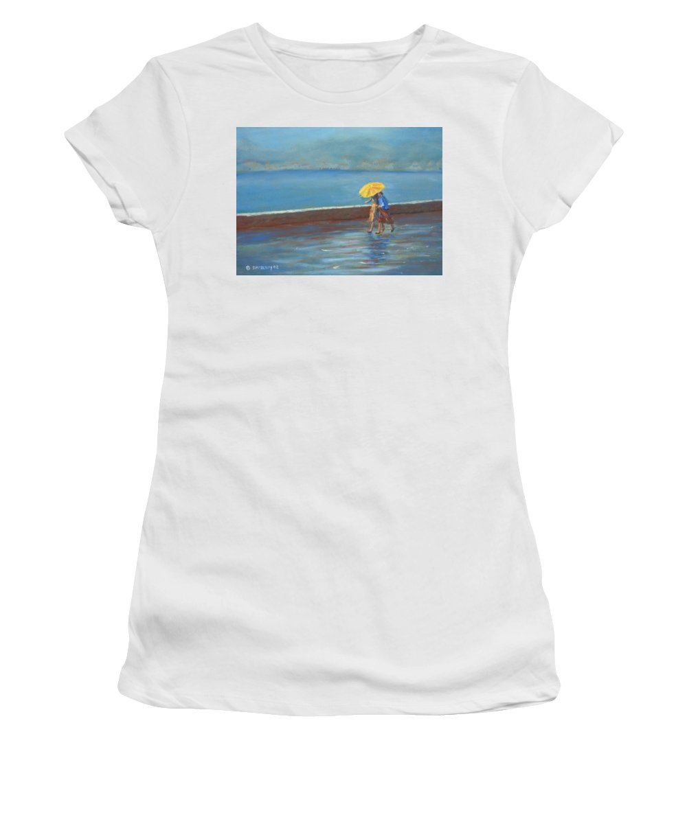 Rain Women's T-Shirt (Athletic Fit) featuring the painting The Yellow Umbrella by Jerry McElroy