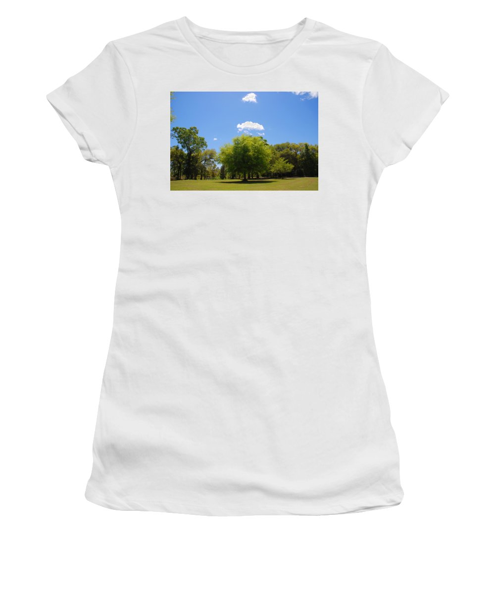 Photography Women's T-Shirt (Athletic Fit) featuring the photograph There Are Some Clouds by Susanne Van Hulst