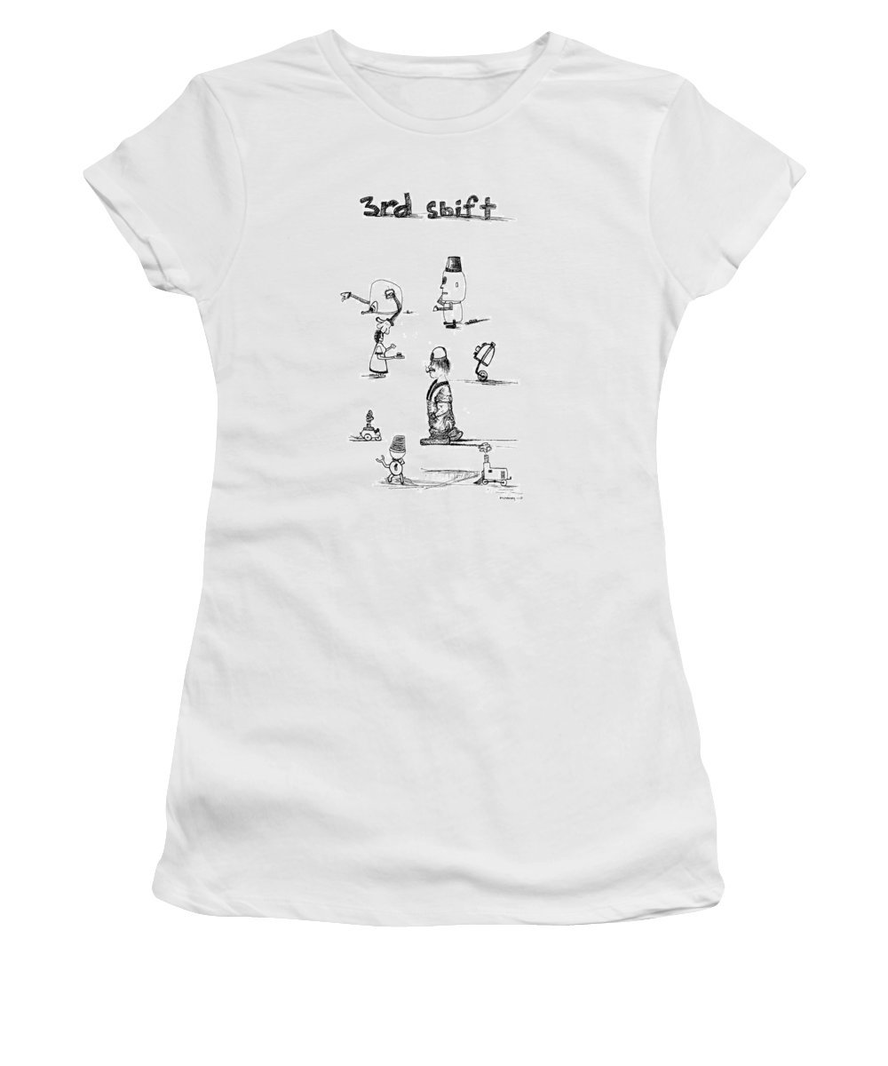 Sketchbook Project Women's T-Shirt (Athletic Fit) featuring the drawing Third Shift by Michael Mooney