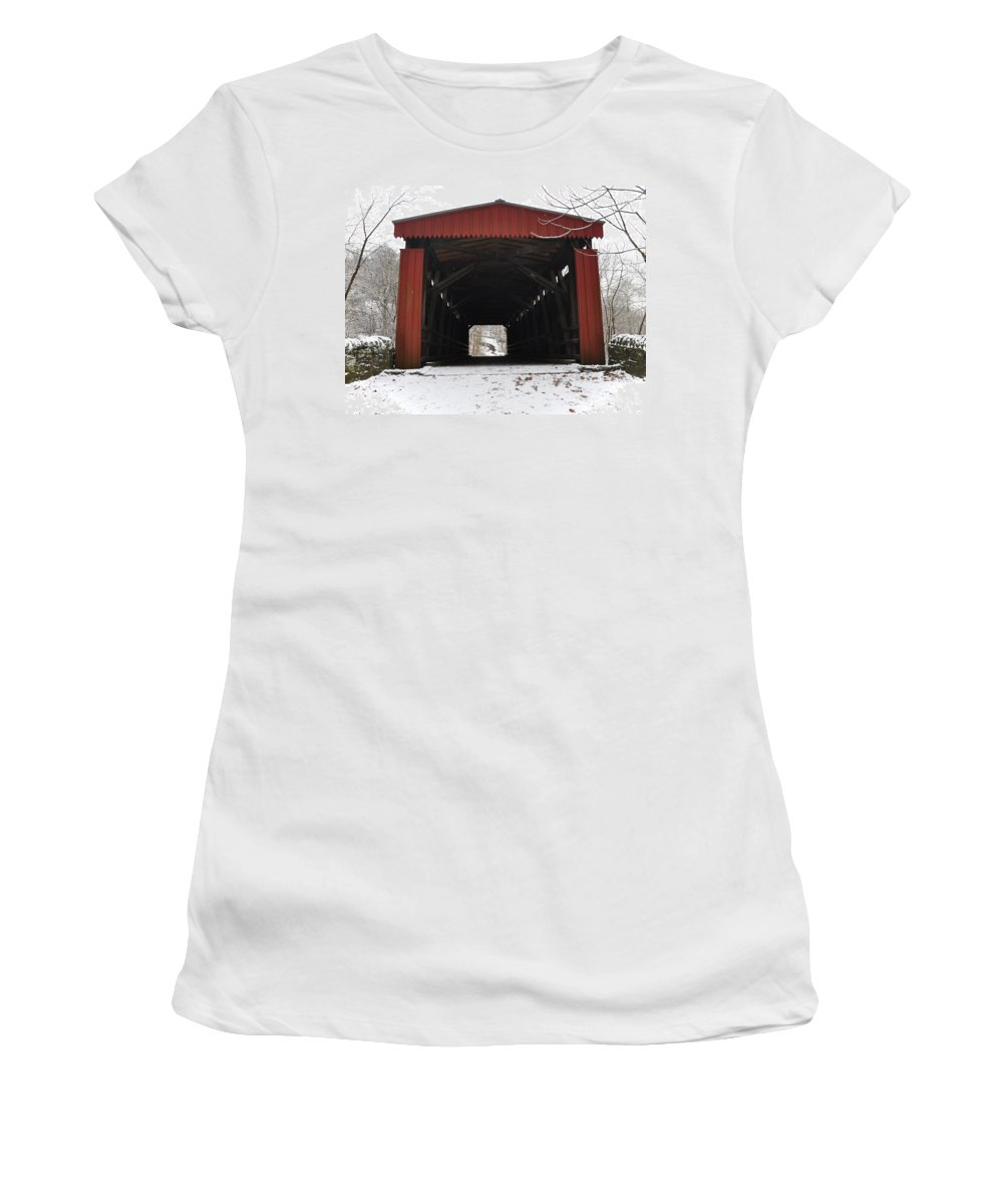Covered Bridge Women's T-Shirt featuring the photograph Thomas Mill Road Covered Bridge by Bill Cannon