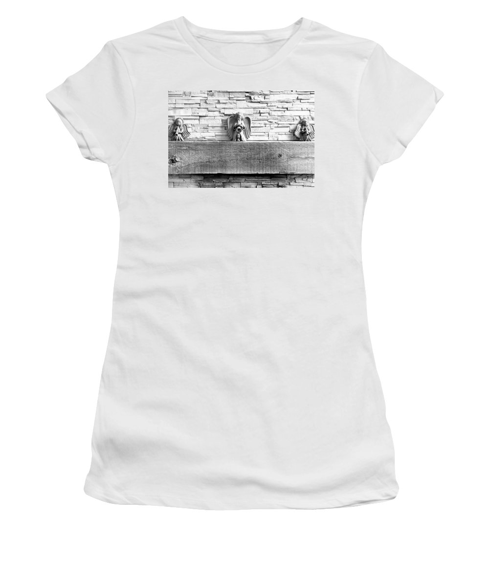 Three Women's T-Shirt (Athletic Fit) featuring the photograph Three Angels On A Mantel by Robert Meyers-Lussier