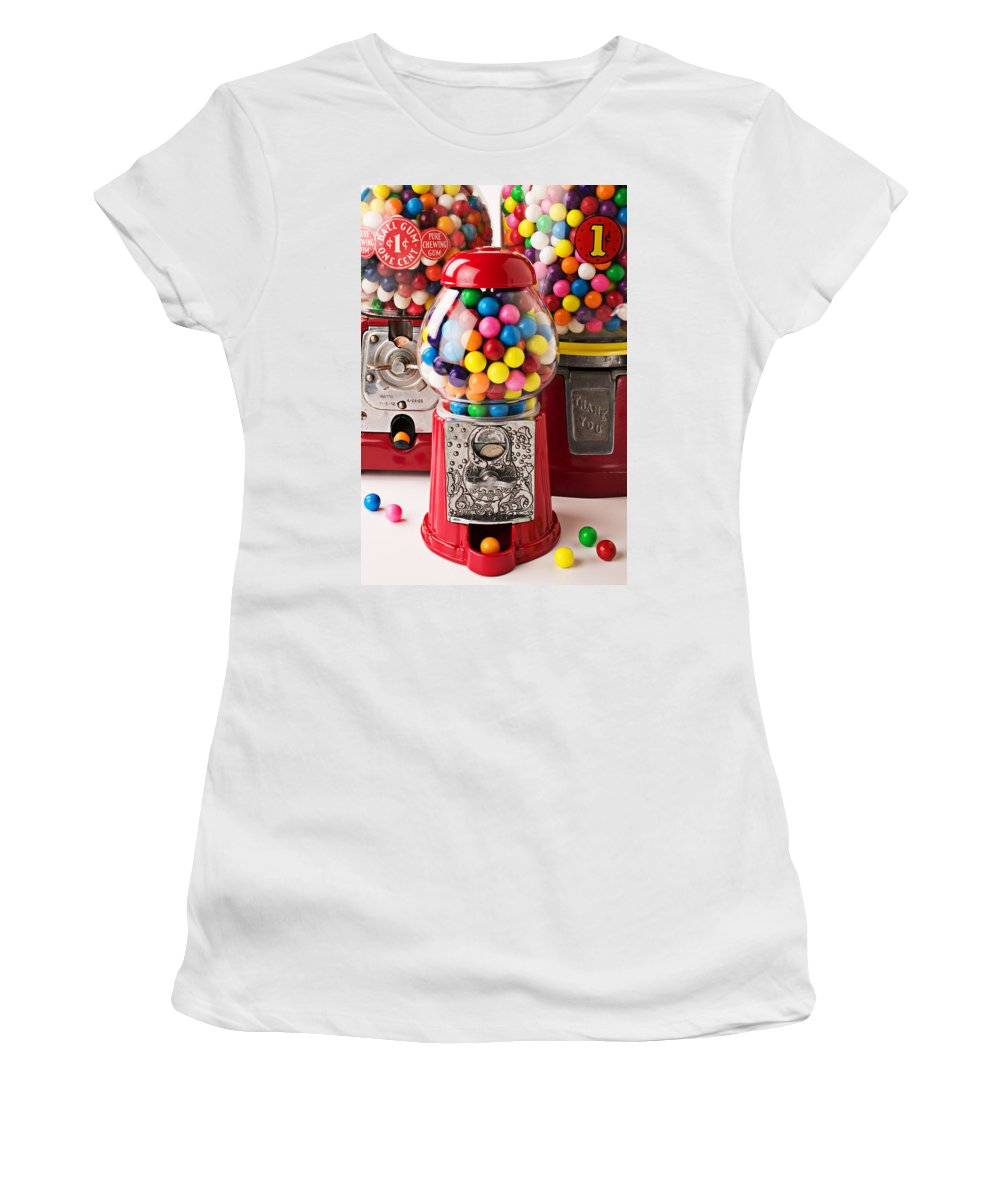 Gum; Bubble Gum; Machine; Vendor; Old Fashion; Antique Women's T-Shirt (Athletic Fit) featuring the photograph Three Bubble Gum Machines by Garry Gay