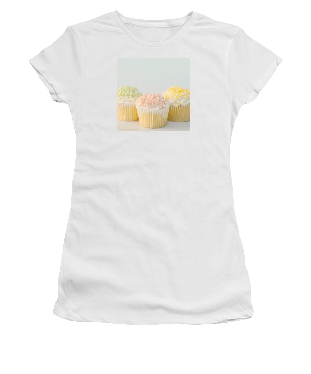 Cupcakes Women's T-Shirt (Athletic Fit) featuring the photograph Three Cupcakes by Art Block Collections