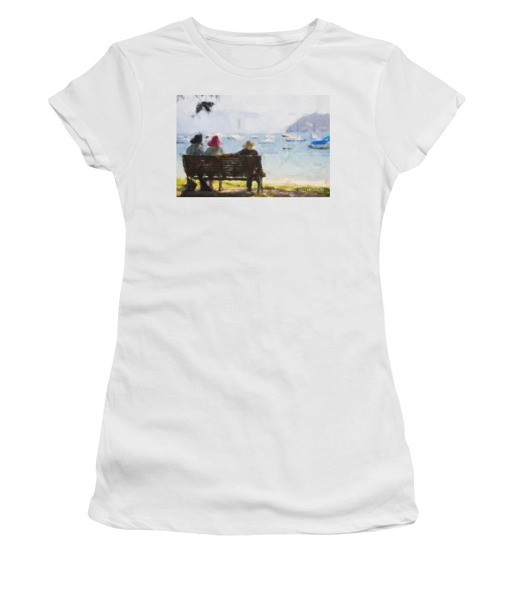 Impressionism Impressionist Water Boats Three Ladies Seat Women's T-Shirt (Athletic Fit) featuring the photograph Three Ladies by Sheila Smart Fine Art Photography