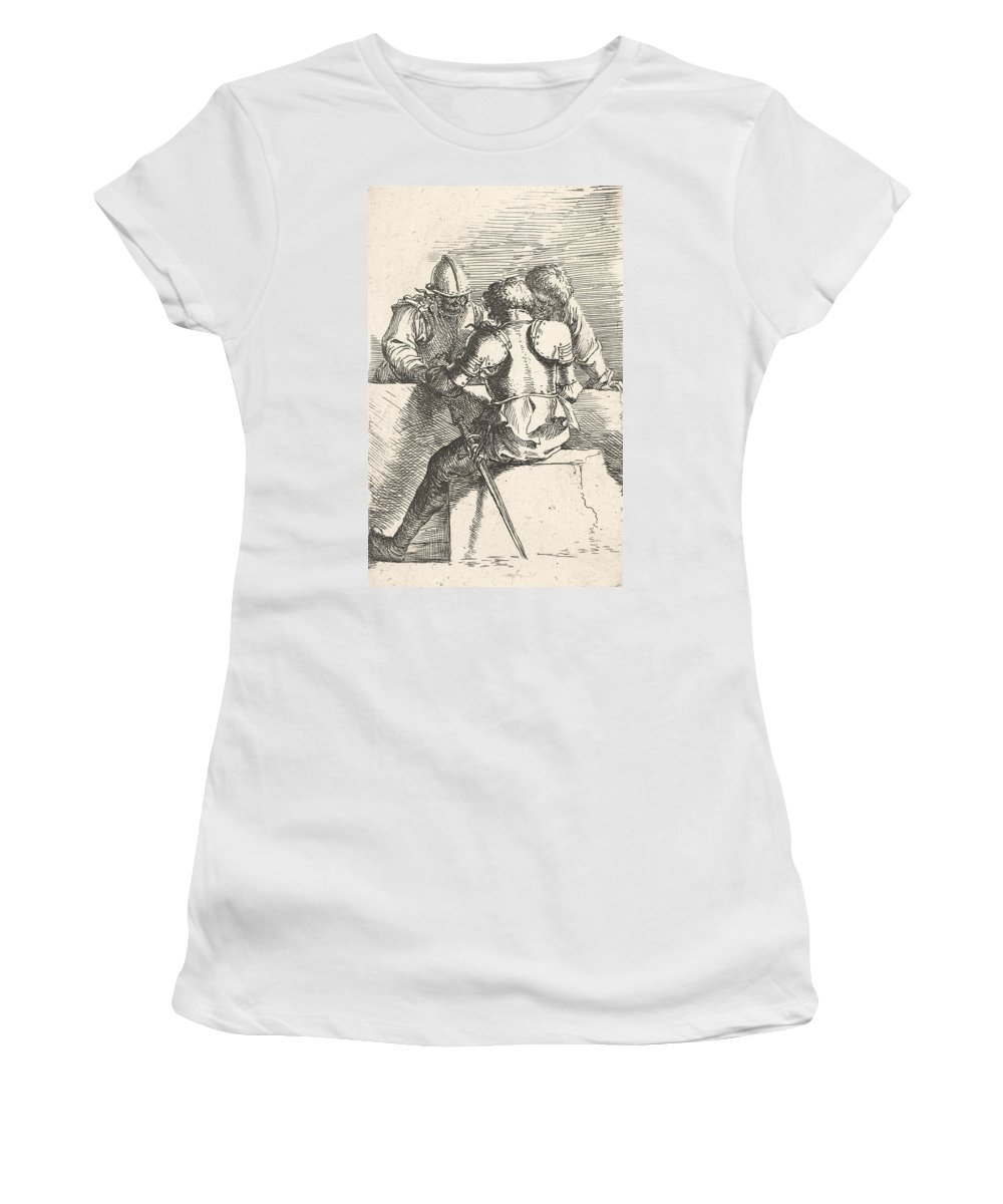 17th Century Art Women's T-Shirt featuring the relief Three Warriors Conversing At A Low Wall, One With His Back Turned by Salvator Rosa