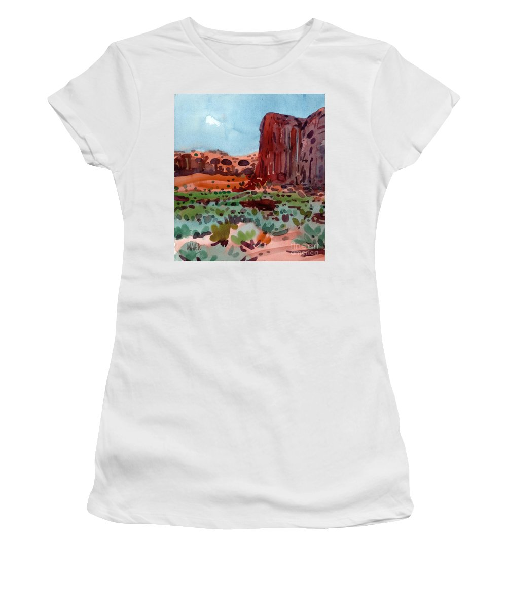 Thunderbird Butte Women's T-Shirt (Athletic Fit) featuring the painting Thunderbird Butte by Donald Maier