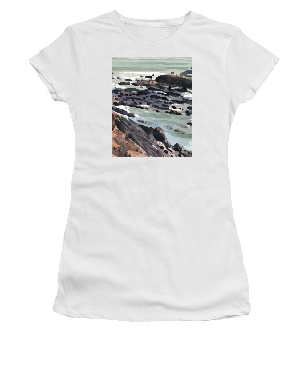 Pacific Coast Women's T-Shirt (Athletic Fit) featuring the painting Tidal Pools by Donald Maier