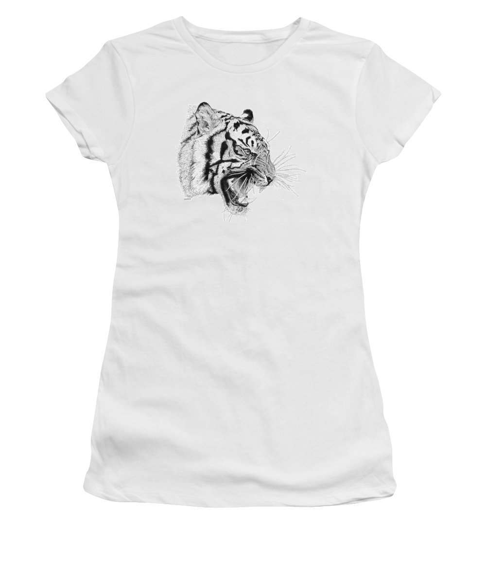Pen Women's T-Shirt (Athletic Fit) featuring the drawing Tiger by Scott Woyak