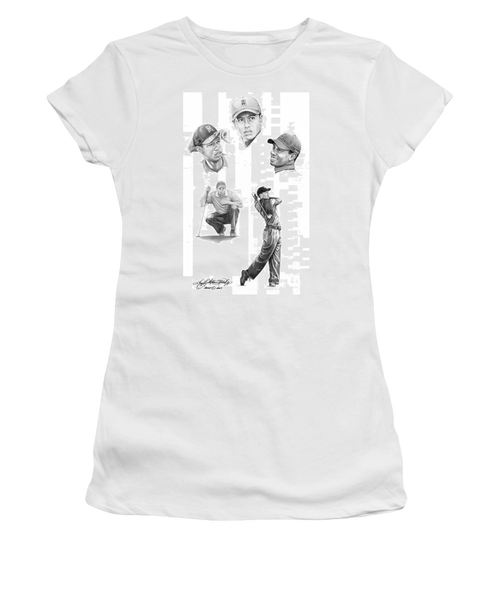 (tiger Woods) Women's T-Shirt featuring the drawing Tiger Woods- Full Circle by Murphy Elliott