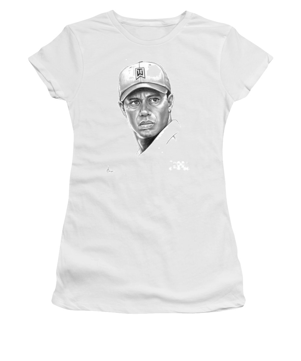 Tiger Woods Women's T-Shirt featuring the drawing Tiger Woods by Murphy Elliott