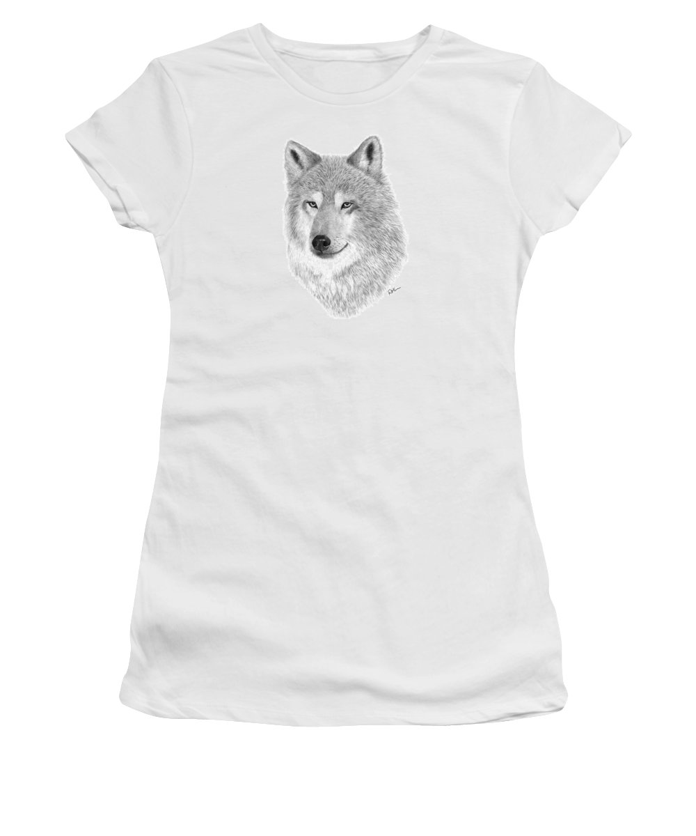 Wolf Drawing Women's T-Shirt (Athletic Fit) featuring the drawing Timber Wolf by Rosanna Maria