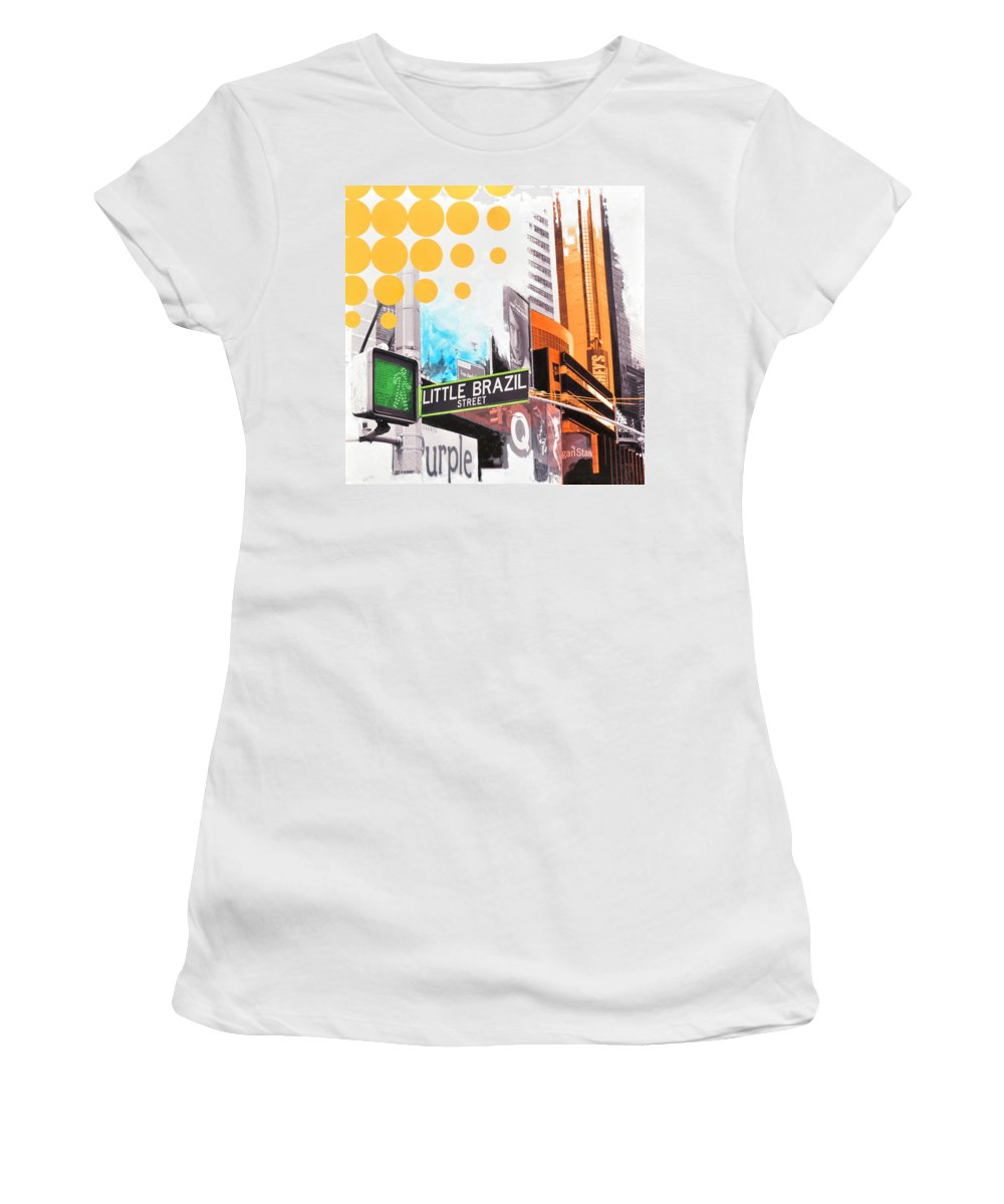 Ny Women's T-Shirt (Athletic Fit) featuring the painting Times Square Little Brazil by Jean Pierre Rousselet