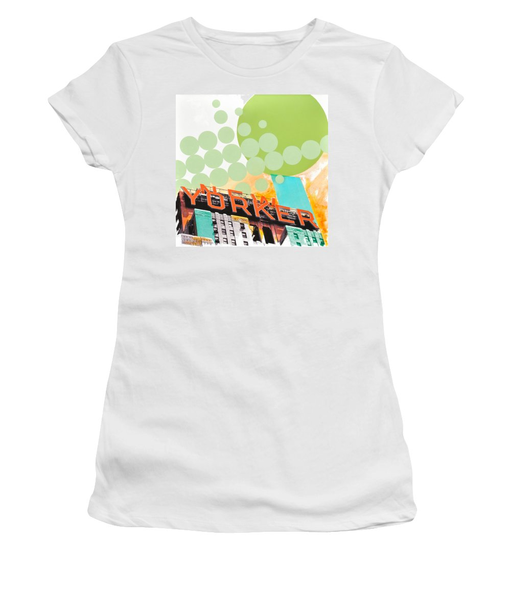 Ny Women's T-Shirt (Athletic Fit) featuring the painting Times Square New Yorker by Jean Pierre Rousselet