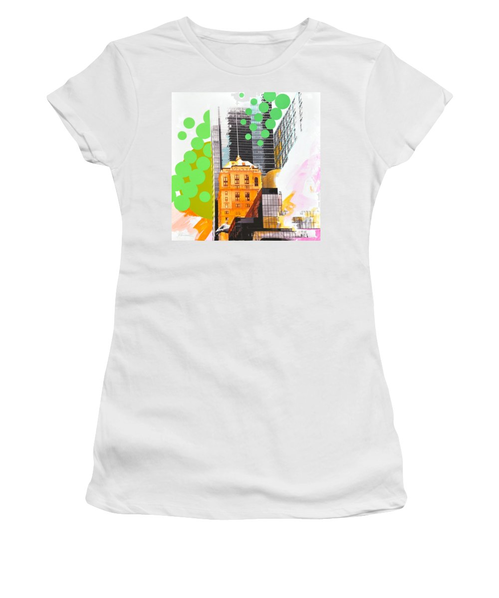 Ny Women's T-Shirt (Athletic Fit) featuring the painting Times Square Ny Advertise by Jean Pierre Rousselet