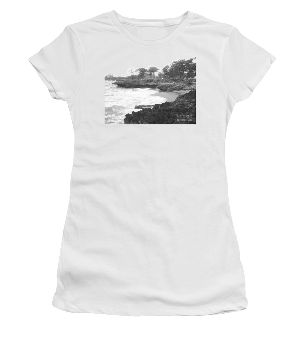 Black Women's T-Shirt (Athletic Fit) featuring the photograph Tiny Opportunity Beach In Santo Domingo Dominican Republic by Heather Kirk