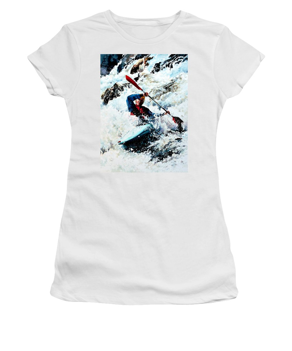 Sports Artist Women's T-Shirt (Athletic Fit) featuring the painting To Conquer White Water by Hanne Lore Koehler