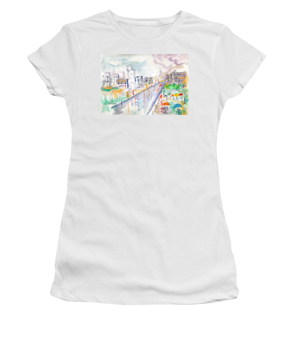 City Women's T-Shirt (Athletic Fit) featuring the painting To The Wet City by Mary Armstrong