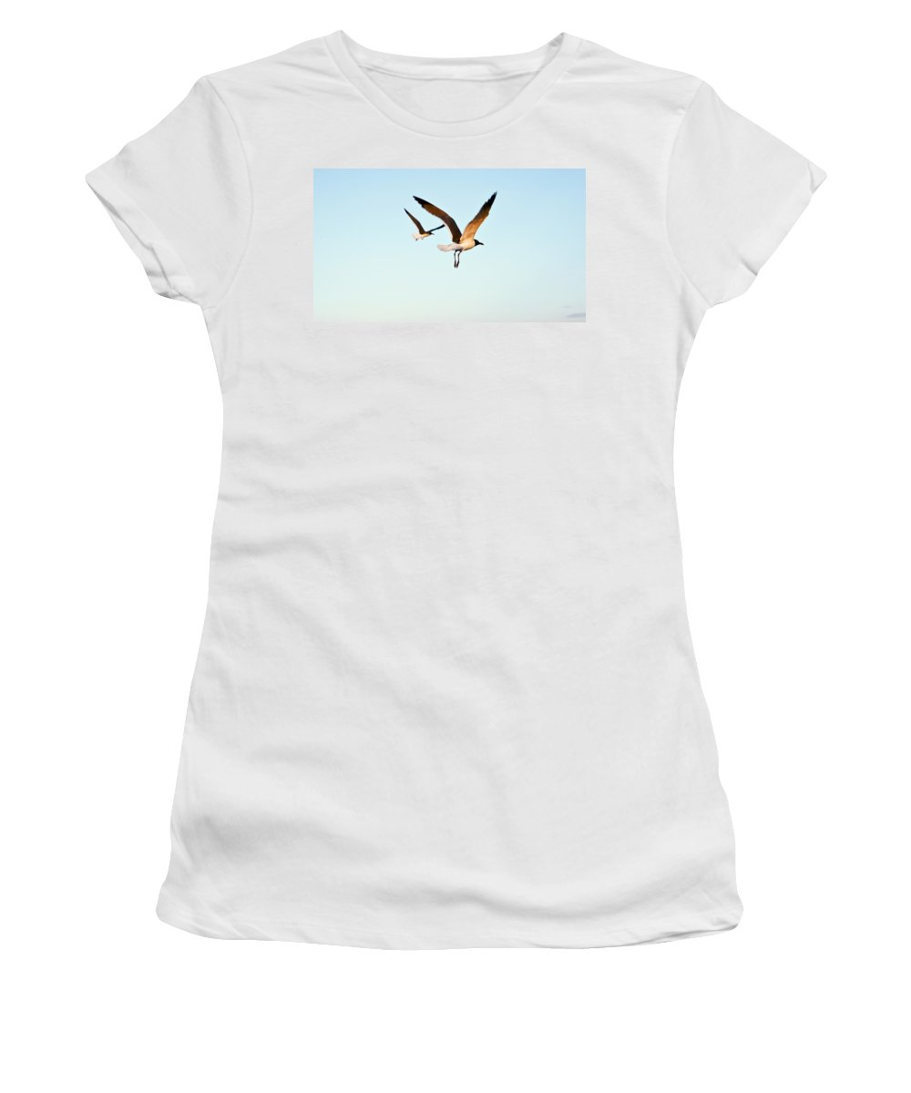 Two Women's T-Shirt (Athletic Fit) featuring the photograph Together by Marilyn Hunt