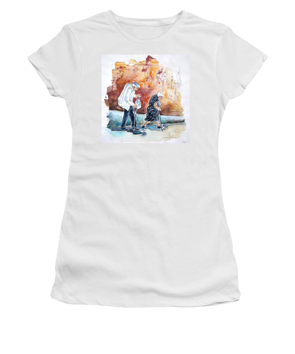 Portugal Paintings Women's T-Shirt (Athletic Fit) featuring the painting Together Old In Portugal 01 by Miki De Goodaboom