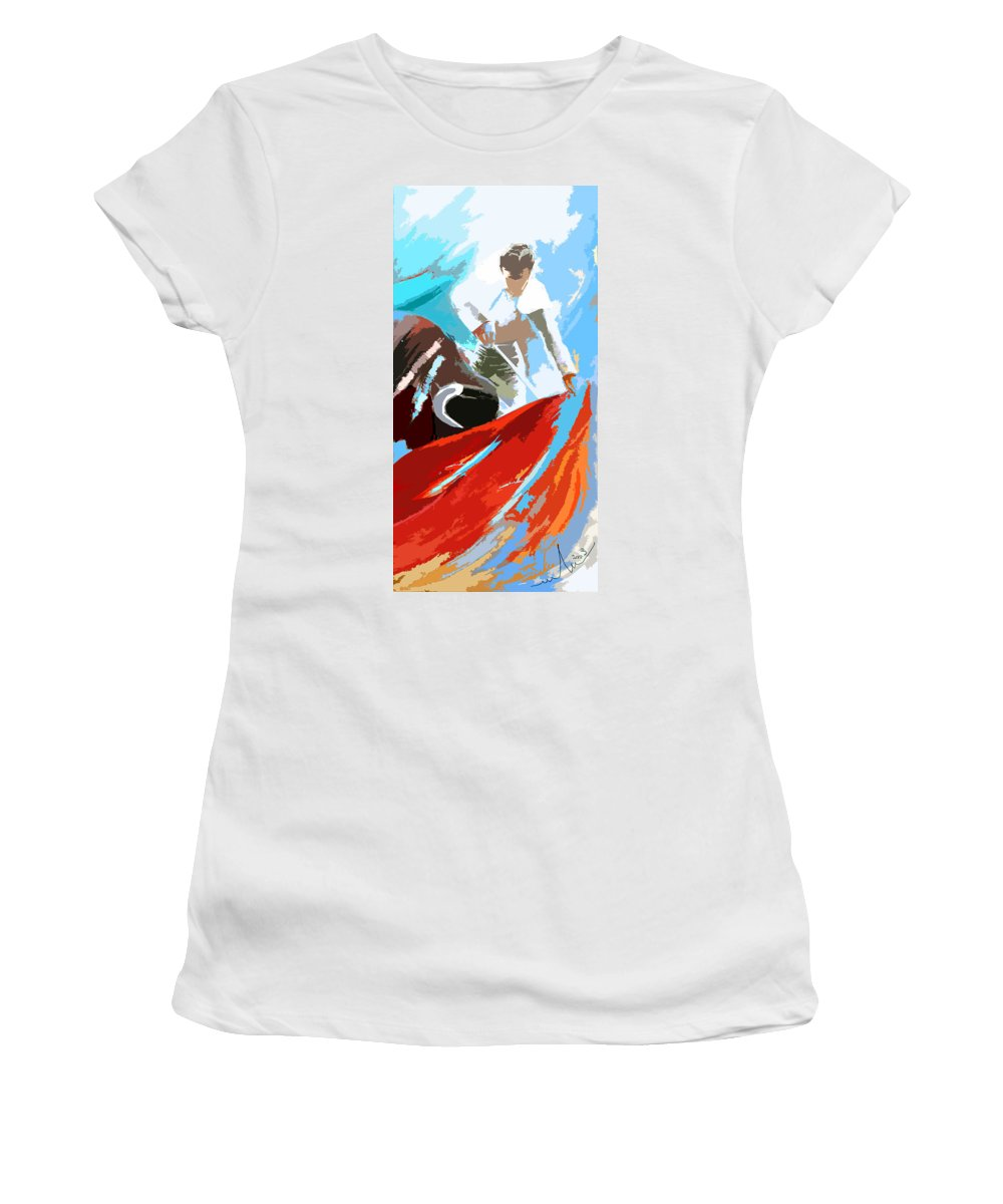 Animals Women's T-Shirt (Athletic Fit) featuring the painting Toroscape 32 by Miki De Goodaboom