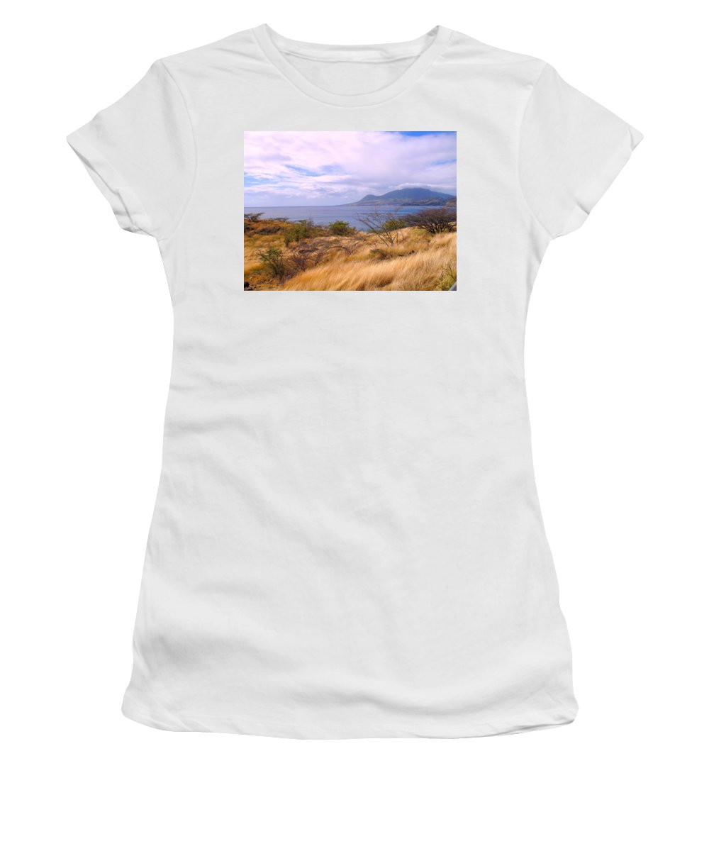 St Kitts Women's T-Shirt (Athletic Fit) featuring the photograph Towards Basseterre by Ian MacDonald