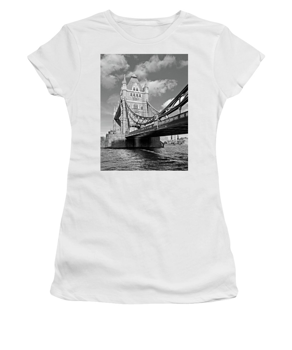 London Women's T-Shirt (Athletic Fit) featuring the photograph Tower Bridge Vertical Black And White by Gill Billington