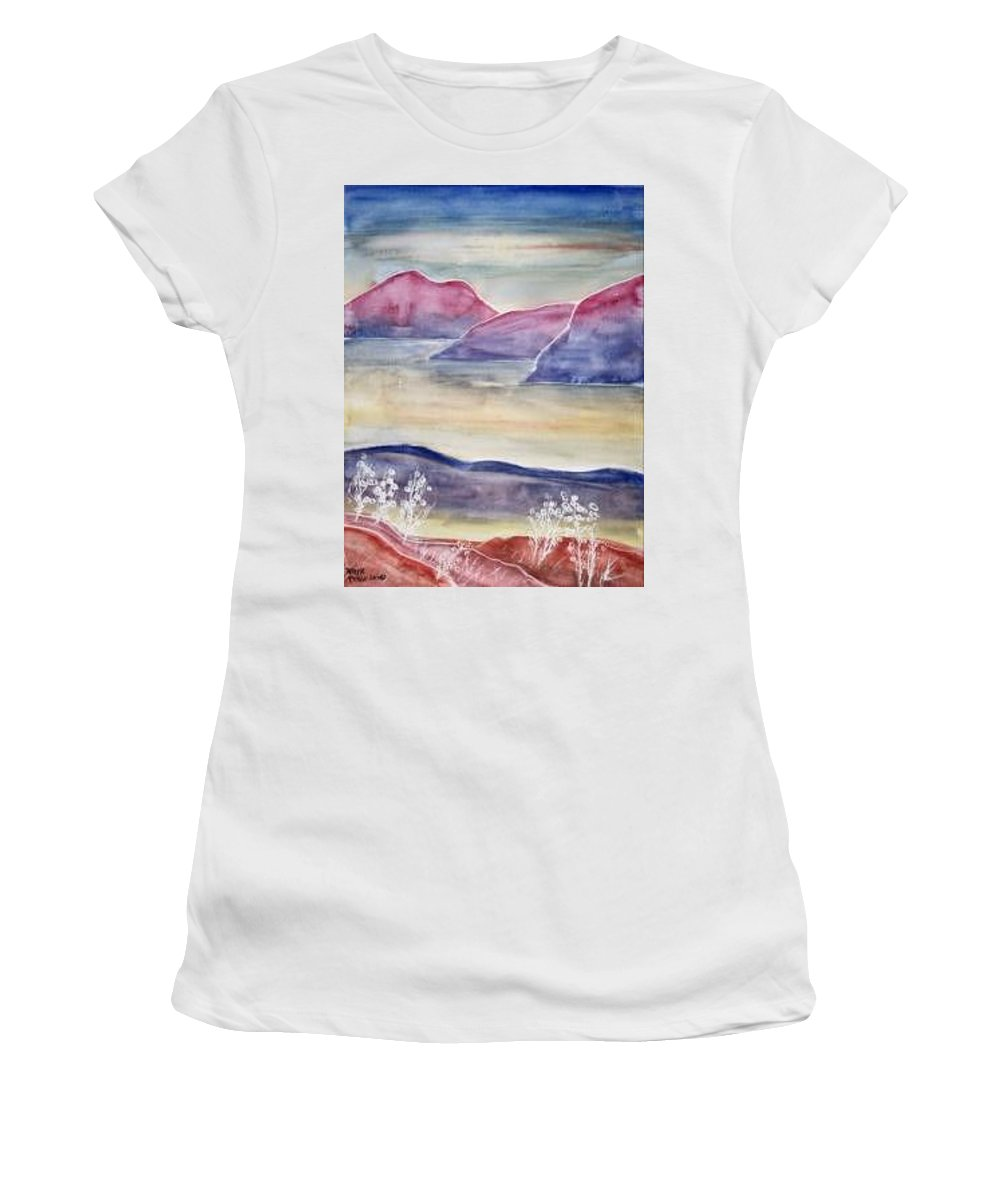 Watercolor Women's T-Shirt (Athletic Fit) featuring the painting Tranquility 2 Mountain Modern Surreal Painting Print by Derek Mccrea