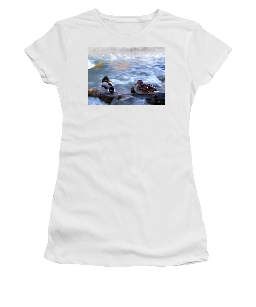 Wildlife Women's T-Shirt (Athletic Fit) featuring the digital art Tranquility On The River Of Life by Bill Stephens