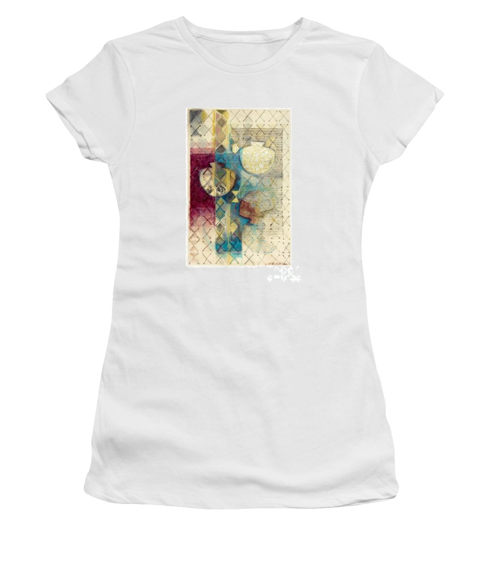 Mixed-media Women's T-Shirt (Athletic Fit) featuring the painting Trans Xs No 1 by Kerryn Madsen- Pietsch