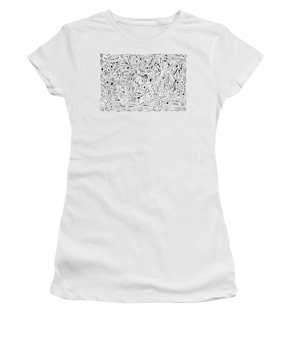 Mazes Women's T-Shirt (Athletic Fit) featuring the drawing Transcendental by Steven Natanson