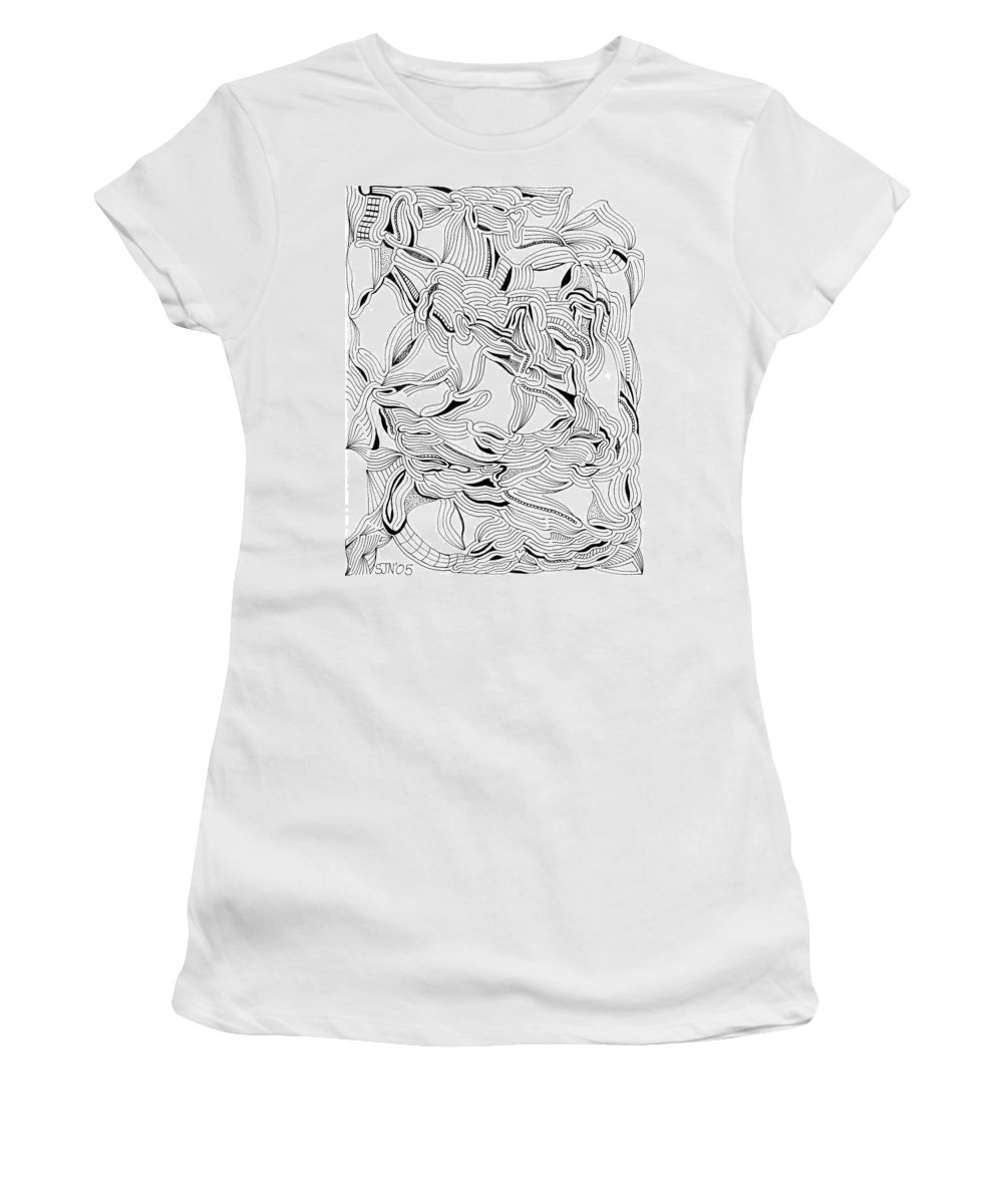 Mazes Women's T-Shirt (Athletic Fit) featuring the drawing Transformation by Steven Natanson
