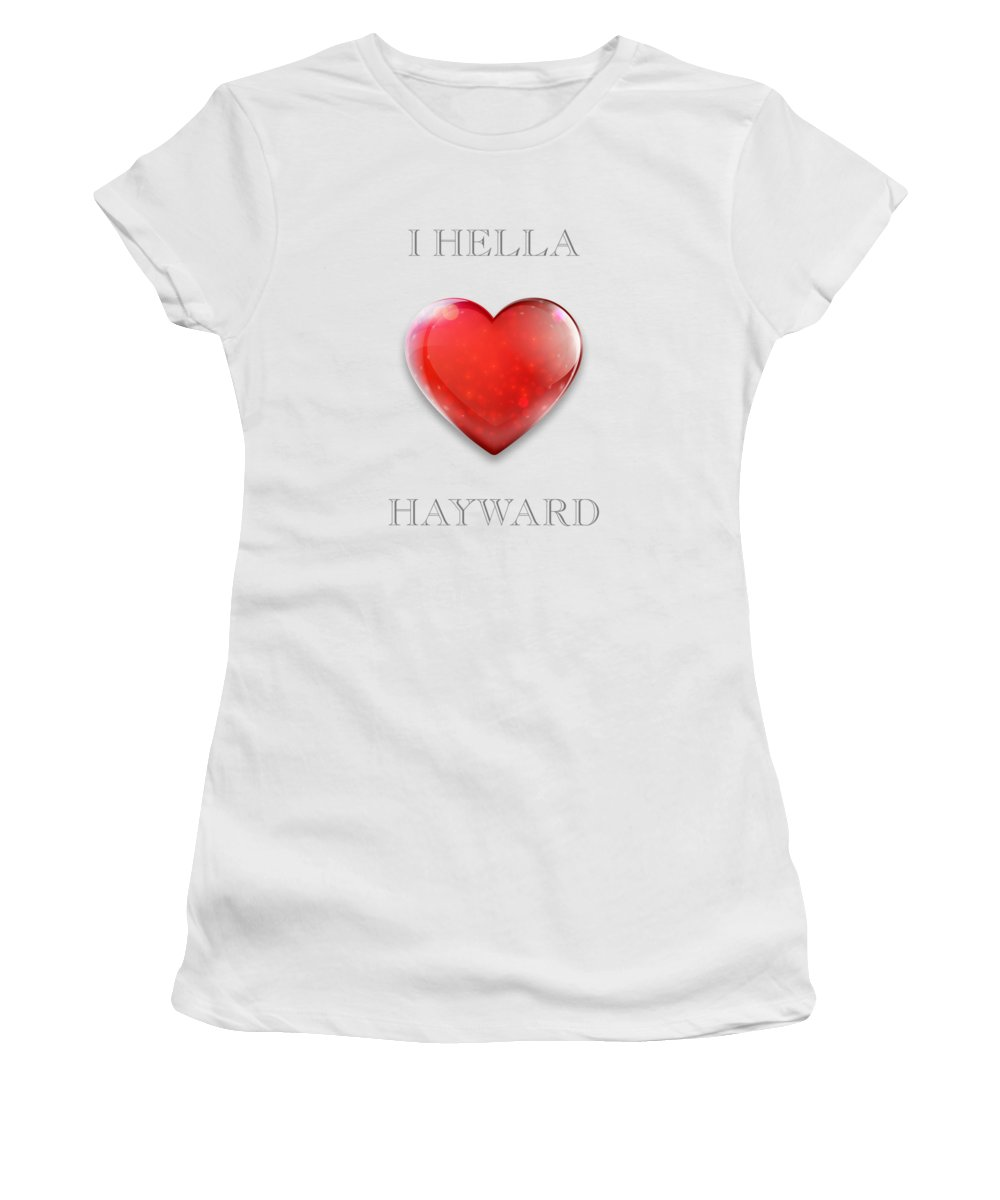 I Hella Love Transparent Png Women's T-Shirt (Athletic Fit) featuring the photograph Transparent I Hella Love Hayward Ruby Red Heart Png by Kathy Anselmo