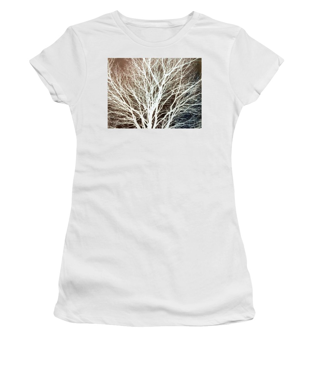 Tree Brown Negative Women's T-Shirt (Athletic Fit) featuring the photograph Tree by Cindy New