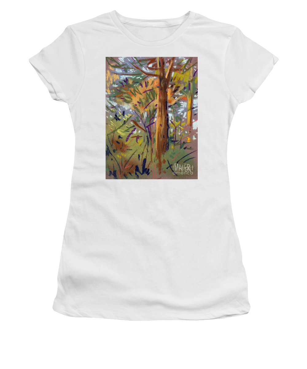 Trees Women's T-Shirt (Athletic Fit) featuring the drawing Tree Sketch by Donald Maier