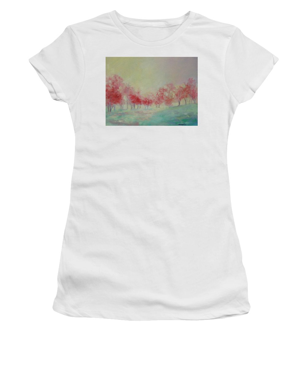 Impressionist Trees Women's T-Shirt (Athletic Fit) featuring the painting Treeline by Ginger Concepcion
