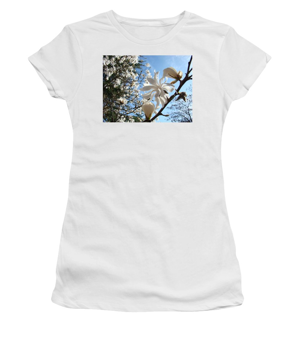 Magnolia Women's T-Shirt (Athletic Fit) featuring the photograph Trees Art Prints White Magnolia Flowers Baslee Troutman by Baslee Troutman