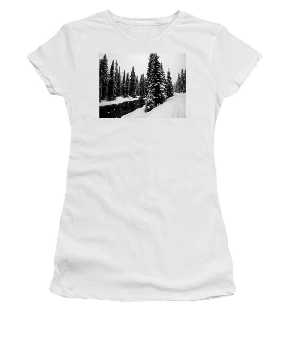 Mccall Women's T-Shirt (Athletic Fit) featuring the photograph Trees On The River by Angus Hooper Iii